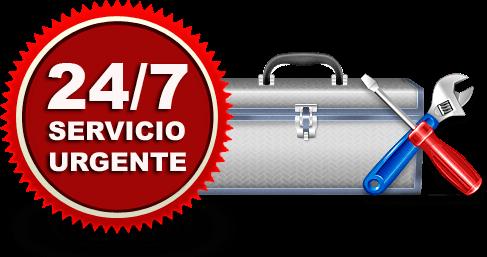 24/7 Cerrajero en Madrid, símbolo redondo con una caja de herramientras, un desatornillador y una llave.